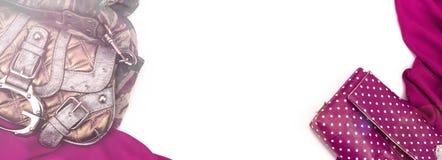 Marco que cubre decorativo de la bandera de la materia textil La bandera británica del modelo del rosa de la bufanda de los acces Imágenes de archivo libres de regalías