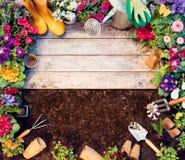 Marco que cultiva un huerto - herramientas y macetas en la tabla de madera imagen de archivo