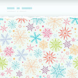 Marco rasgado horizontal de los copos de nieve coloridos del garabato Imágenes de archivo libres de regalías