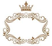 Marco real elegante con la corona Imágenes de archivo libres de regalías