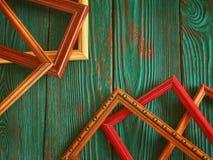 Marco rectangular con el espacio de la copia, en un fondo de madera auténtico hermoso Fotografía de archivo libre de regalías