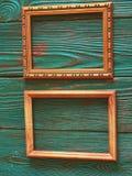 Marco rectangular con el espacio de la copia, en un fondo de madera auténtico hermoso Fotos de archivo
