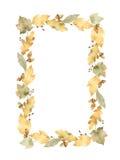 Marco rectangular de la acuarela de las hojas y de las ramas aisladas en el fondo blanco Fotografía de archivo libre de regalías
