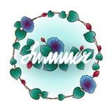 Marco redondeado del verano con las hojas y las flores Imagen de archivo libre de regalías