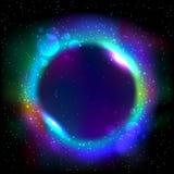 Marco redondo azul que brilla intensamente Imagenes de archivo