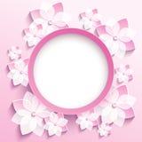 Marco redondo con 3d el rosa Sakura, tarjeta de felicitación Fotografía de archivo