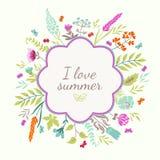 Marco redondo con las flores Stock de ilustración