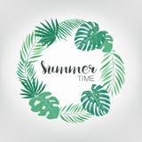 Marco redondo con las hojas de palma tropicales fondo exótico con el lugar para el texto Imágenes de archivo libres de regalías