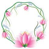 Marco redondo con los lotuses Fotografía de archivo