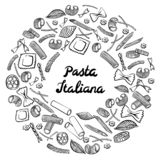 Marco redondo con macarrones italianos de diferentes tipos r fotos de archivo