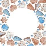 Marco redondo de la acuarela de las galletas de la Navidad o del Año Nuevo stock de ilustración