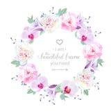 Marco redondo de la boda del diseño floral hermoso del vector stock de ilustración