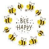 Marco redondo de las abejas lindas de la miel libre illustration