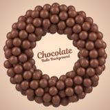 Marco redondo de las bolas del chocolate con el lugar para su contenido Fotografía de archivo
