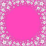 Marco redondo de las flores decorativas blancas en un fondo rosado brillante stock de ilustración