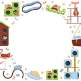 Marco redondo de los accesorios del gato gatos y sus casas en el fondo blanco Diverso equipo felino, árbol del gato de los mueble stock de ilustración