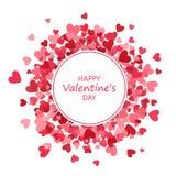 Marco redondo de los corazones Bandera del día del ` s de la tarjeta del día de San Valentín Fondo del amor Ilustración del vecto libre illustration