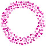 Marco redondo de los corazones rosados del amor Foto de archivo