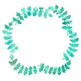 Marco redondo de los elementos simples, primaveras Dibujo de la acuarela con un movimiento del contorno en un fondo blanco, para  ilustración del vector
