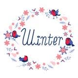 Marco redondo de los pájaros del invierno Imágenes de archivo libres de regalías