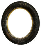 Marco redondo de madera de la antigüedad vieja del vintage, aislado Imágenes de archivo libres de regalías