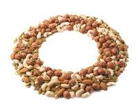 Marco redondo de nueces y de semillas Imagen de archivo libre de regalías