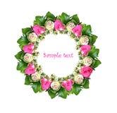Marco redondo de rosas Imagen de archivo libre de regalías