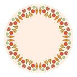 Marco redondo decorativo de las verduras en el fondo Foto de archivo libre de regalías