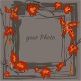 Marco redondo del otoño con las hojas amarillas, de la naranja y las ramitas arce, mariposa Fotos de archivo libres de regalías