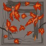 Marco redondo del otoño con las hojas amarillas, de la naranja y las ramitas arce, mariposa Foto de archivo
