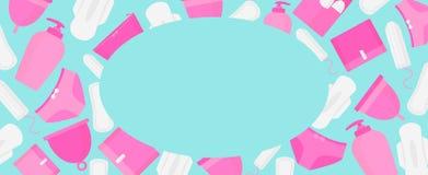 Marco redondo del tiempo de la menstruación Productos de higiene de la mujer - tapón, taza menstrual, sanitaria stock de ilustración