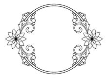 Marco redondo elegante con contornos de flores Clip art de la trama Imagen de archivo libre de regalías