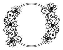Marco redondo elegante con contornos de flores Clip art de la trama Fotos de archivo libres de regalías