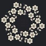 Marco redondo elegante con las flores, las hojas y las estrellas Fotos de archivo libres de regalías