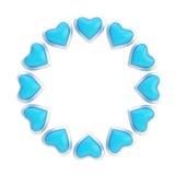 Marco redondo hecho de los corazones aislados Foto de archivo libre de regalías