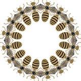 Marco redondo hermoso de las abejas del vuelo, de las libélulas, del oro brillante y de la impresión negra con los diamantes arti libre illustration