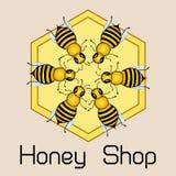 Marco redondo lindo de las abejas del vuelo, impresión brillante del oro Emblema de la tienda de la miel Ilustración del vector stock de ilustración