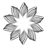 Marco redondo, ornamento floral, flor, ilustración del vector