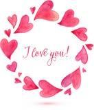 Marco redondo pintado acuarela de los corazones del vector Foto de archivo