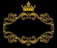 Marco retro con la corona real stock de ilustración