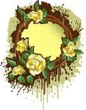 Marco retro con las rosas stock de ilustración