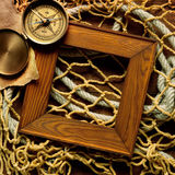 Marco retro en vieja red de la cuerda y de pesca Foto de archivo libre de regalías
