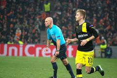 Marco Reus and Howard Webb in the Champions League Stock Photos
