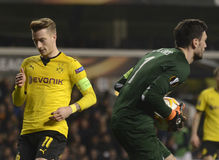 Marco Reus and Hugo Lloris Stock Photo