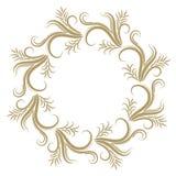 Marco rizado abstracto del oro en el fondo blanco Imagen de archivo libre de regalías