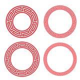 Marco rojo chino clásico de la ventana y de la foto del círculo ilustración del vector