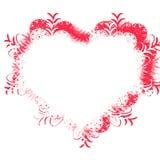 Marco rojo con el corazón Foto de archivo