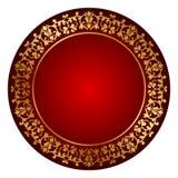 Marco rojo con el ornamento del oro stock de ilustración