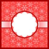 Marco rojo con los copos de nieve Imagen de archivo libre de regalías