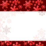 Marco rojo con los copos de nieve grandes Fotos de archivo